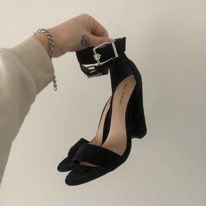 Call it Spring Black Velvet Heel Sandals